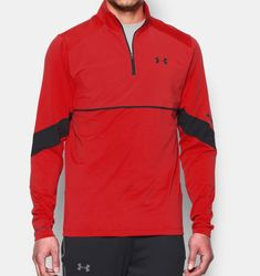 Men's UA Storm Pitch ¼ Zip, RISK RED, Front, RISK RED, Click to view full size Best Mens Fashion, Under Armour Men, Pitch, Long Sleeve Shirts, Jackets, Ua, Shopping, Style, Down Jackets