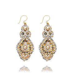 Hand knotted miyuki bead earrings in 14 karat gold fill