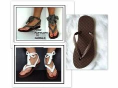 Turn Flip Flops into Sandals by Recycling a T-shirt - DIY - AllDayChic