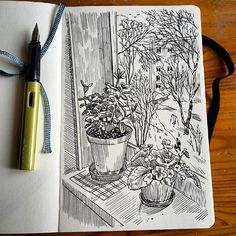 View from the window # sketch # lifesketch # hahnemuehle # illustratedlife # graphic # graphicartwork # sketchbook # sketchbooks graphics # # # sketch artist . Sketchbook Drawings, Art Sketches, Art Drawings, Simple Sketches, Illustration Design Graphique, Illustration Art, Medical Illustration, Art Illustrations, Window Sketch