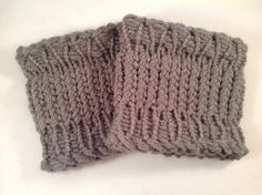 Hand Knit Grey Ribbed Edge Boot Cuffs in SMALL Size by ToniDStudio on Etsy