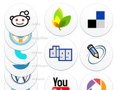 round, boldly-styled social icons