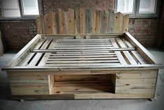 Diy pallet bed frame instructions pallet bed frames recycled pallet bed with storage option twin pallet bed frame with storage pallet bed frames diy pallet Wood Pallet Beds, Pallet Bed Frames, Diy Pallet Bed, Wood Pallet Furniture, Diy Pallet Projects, Wood Pallets, Wood Projects, Pallet Ideas, Furniture Ideas