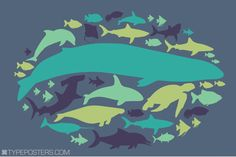 Of The Ocean 24x36 Sea Creature Art Print by TypePosters on Etsy