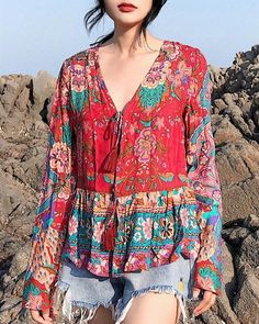 Floral Loose Long Sleeves Lace Up Blouses Shirt Bohemian Tops - gifthershoes