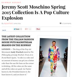 MISSION: #Moschino is a pop culture explosion! #fashion #runway http://thechicspy.com/index.php/jeremy-scott-moschino-spring-2015
