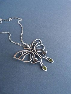 Butterfly necklace - chrysolite silver pendant - wire wrapped pendant - luxury classic jewelry Romantic gift for her