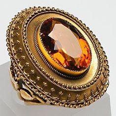 VICTORIAN ERA ANTIQUE CITRINE COCKTAIL RING SOLID 14K GOLD