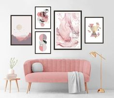 Gallery Wall Set of 5 Scandinavian Abstract Prints, Mid Century Modern Wall Art, Geometric Prints, Minimalist Blush Pink Marble Printable Modern Gallery Wall, Modern Wall Art, Marble Wall, Pink Marble, Marble Printable, Turquoise Wall Art, Stylish Bedroom, Abstract Wall Art, Minimalist Art