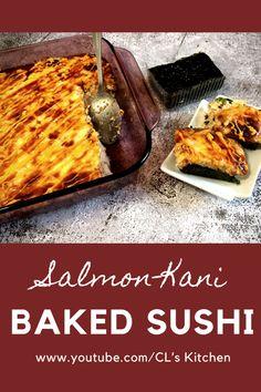Baked Sushi Recipe, Sushi Rice Recipes, Sushi Bake, Kinds Of Sushi, Summer Fest, Salmon Sushi, Kimbap, Baked Roast, Japanese Sushi
