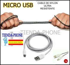 Cable datos cargador BLANCO de Nylon micro usb para Samsung S2 S3 S4 ace mini
