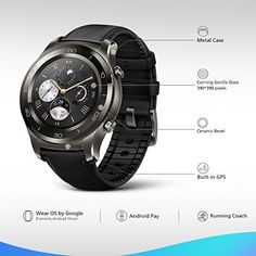 Huawei Watch 2 Classic Smartwatch - Ceramic Bezel- Black Leather Strap(Us Warranty) Huawei Watch, Casio Watch, Watch 2, Smart Watch, Computer Shop, Android Wear, Cheap Watches, Morning Running, Sport Watches