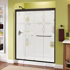 Delta Simplicity 60 in. x 70 in. Semi-Framed Sliding Shower Door in Bronze with Tranquility Glass-1118080 - The Home Depot