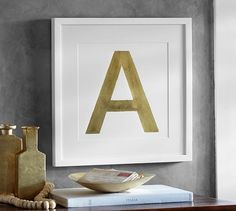 Gold Leaf Letter Framed Prints | Pottery Barn