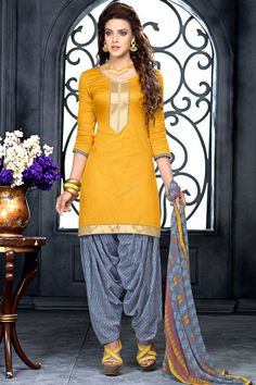 Mustard Cotton Patiala Salwar Suit with Chiffon Dupatta Andaaz Fashion Malaysia Presents Mustard, Cotton, printed print, semi stictch patiala suit.   V neck, Above knee length, quarter sleeves kameez.   Grey cotton patiala salwar.   Grey chiffon dupatta with lace border with work.   http://www.andaazfashion.com.my/salwar-kameez/patiala-suits