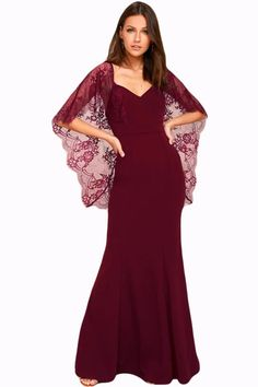 Purplish Red V Cut Open Back Lace Cape Sleeve Maxi Poncho Dress Gowns With  Sleeves 21c3b271922b