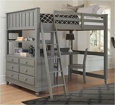 gray Full Loft Bed with Desk