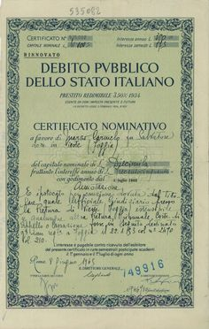 DEBITO PUBBL. DELLO STATO ITALIANO - PRESTITO REDIM. 3,50% - 1934 - CERT. NOMINATIVI - #scripomarket #scriposigns #scripofilia #scripophily #finanza #finance #collezionismo #collectibles #arte #art #scripoart #scripoarte #borsa #stock #azioni #bonds #obbligazioni