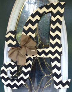 Curly Chevron Letter Monogram Door Hanger by EllieBelliesSigns- love this for…