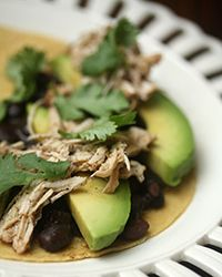 Pulled Chicken Tacos with Spicy Black Beans Recipe
