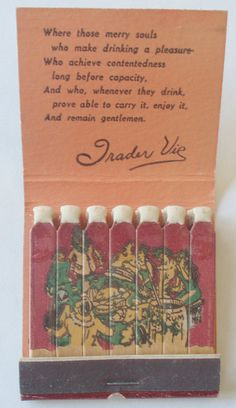 In 1934 the very first Trader Vic's tiki bar and restaurant was opened in Oakland at San Pablo and 65th Street. Frank Kelsey has an amazing collection of vintage matchbooks from Oakland establishments.