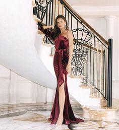 Wine Bridesmaid Dresses, White Runway, Velvet Gown, Female Form, Gowns, Formal Dresses, Model, Hugs, Style