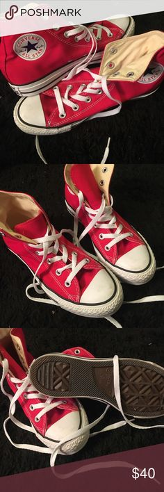 Hi top converse Red high top converse for sale !! Brand new , perfect condition . Size 8 woman's (keep in mind converse sizing is unisex so they run a bit bigger!!) Converse Shoes Sneakers