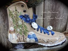 PAINTING THYME NEEDFULS: It's THYME for some WINTER TIME MAGIC. Paint on a pair of thrift shop ice skates. #decoartprojects #happy30thdecoart
