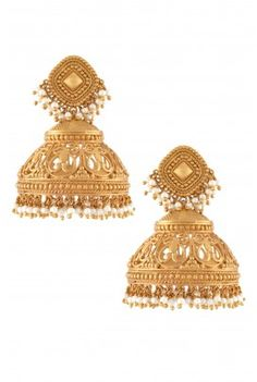 How To Clean Gold Jewelry With Baking Soda Gold Jhumka Earrings, Gold Earrings Designs, Indian Earrings, Gold Jewellery Design, Antique Earrings, Gold Jewelry, Jewelery, Diamond Jewelry, Cartier Jewelry