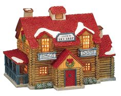 Lemax Jack's Ski Shoppe SKU# 55164.  Introduced in 1995 as a porcelain Lighted House for Lemax Vail Villages.