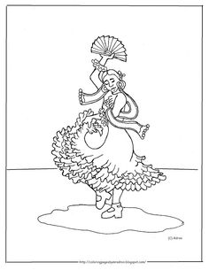 Coloring Pages For Kids By Mr Adron Printable Spanish Flamenco Dancer Page