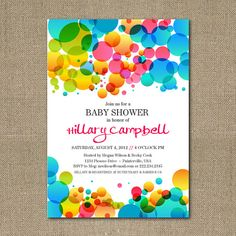 Printable Colorful Abstract Bubbles baby shower by chachkedesigns, $12.00