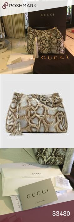 """GUCCI Off-white/nut brwn/beige Python SOHO Handbag SOLD OUT!! $3980+ 234tax GUCCI Off-white, nut brown & beige Python SOHO Handbag.  Brand New Mint Cond Tag still attached. Comes w/original HARD BOX, inside tissue, Dust Bag, care card & Swatch.  Features Detachable leather tassel (still in orig wrap) Embossed interlocking GGs on front. Double gold tone chain shoulder straps w/leather shoulder pads on each.  7"""" drop/ Inside hook closure. Beige Cotton linen lining/Made in Italy/ Have orig…"""