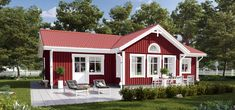 Corner Deck, Red Houses, House Siding, Home Fashion, Bungalow, Shed, Villa, Construction, Outdoor Structures
