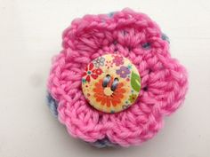 Double Crochet Flowers with Large Button by KreationsByKirstenL, £3.50