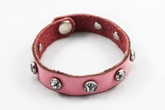Leather Bracelet w/ Rhinestone Studs by Once Again Sam. American Made. See the designer's work at the 2016 American Made Show, Washington DC. January 15-17, 2016. americanmadeshow.com #americanmadeshow, #americanmade, #jewelry, #bracelet, #leather