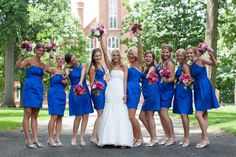 royal blue bridesmaids dresses - love the color Royal Blue Bridesmaid Dresses, Bridesmaids And Groomsmen, Wedding Bridesmaids, Cute Wedding Ideas, Wedding Inspiration, Wedding Designs, Wedding Styles, 25th Wedding Anniversary, Winter Wonderland Wedding