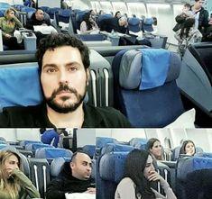 The look of horror in the passenger's face when children start boarding the plane