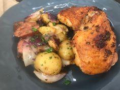 Sobrecoxa de Frango com Batatas e Linguiça   Aves > Receitas com Frango   Mais Você - Receitas Gshow