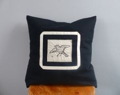 Bird cushion - Free hand machine embroidery cushion inspired by Rijksstudio. 40cm x 40cm black pillow
