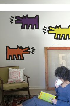 Keith Haring Barking Dogs - assorted color wall decals by Blik