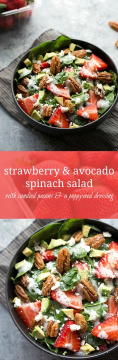 Strawberry and Avocado Spinach Salad with Candied Pecans | Chelsea's Messy Apron