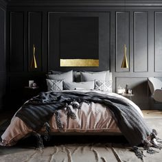 Inspiration for stylish black bedroom decor schemes All black bedrooms, monochrome and wood decor, red and black bedrooms, black bedroom furniture and bed sets - Black Bedroom Sets, Black Bedroom Design, Black Bedroom Decor, Silver Bedroom, Black Bedroom Furniture, Home Decor Bedroom, Modern Bedroom, Bedroom Wall, Minimalist Bedroom