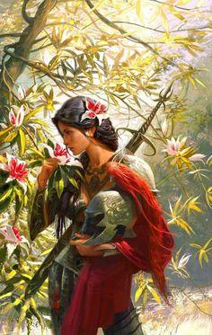 Female warrior taking a break & admiring natures beauty