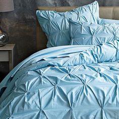 Sea blue pintuck bedding