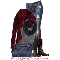Deep Red, Navy & Gray