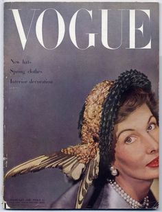 British Vogue February 1949 New Hats, Spring Clothes, Interior Decoration. Clifford Coffin Vintage high fashion magazine | Hprints.com