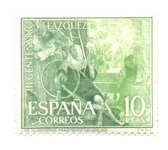 """Sociedad Filatélica de Madrid: El cuadro de Velázquez de La Fábula de Aracne o """"las Hilanderas"""" en los sellos españoles"""