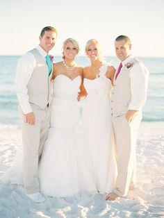 It's a Twin Thing -- See Both Weddings on SMP - http://www.StyleMePretty.com/florida-weddings/destin/2014/01/17/double-wedding-at-palazzo-del-sol/ Lauren Kinsey Photography