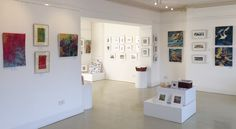 3 Media Mix - oil paintings by Diana Booth, textiles by Jill Cooper, and printmaking and handmade books by Caroline Barker - Harbour House, July 2017